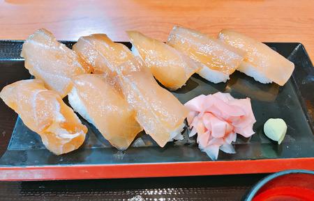 Dish of fish sushi set.