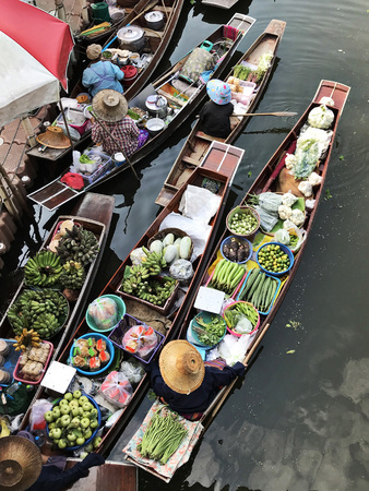 A floating market in Thailand.