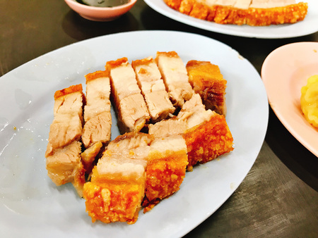 Dish of yummy Crispy Pork in Thailand. Stock Photo