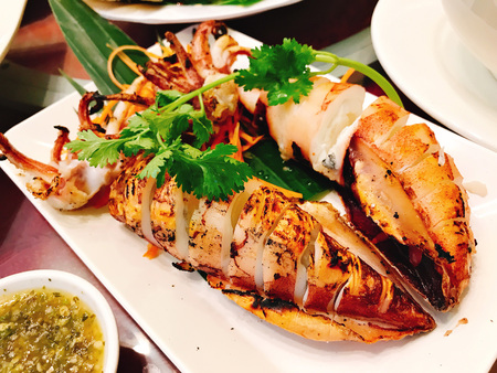 A dish of Thai style grilled squid.