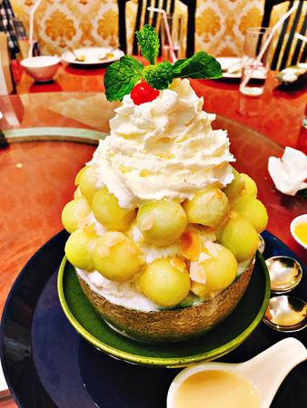A dish of melon bingsu in Thailand.