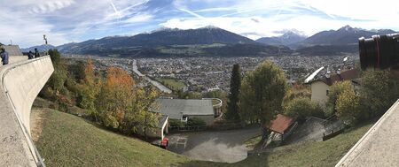 Scenery visible from Hungerburg station of Nordkette Cable Cars in Innsbruck, Austria.
