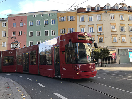 Innsbruck, Austria - October 31, 2018:  Trams in Innsbruck. The Innsbruck tram network is currently organised over three routes (number 1, 3 and 6) and has a total length of 19.5 kilometres. 에디토리얼