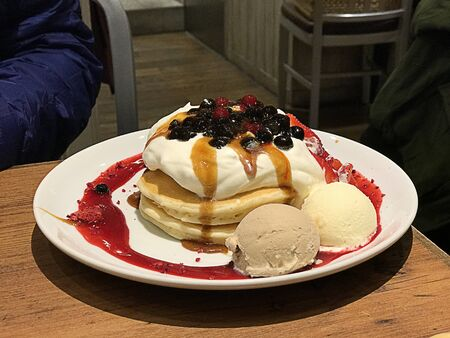 Mixed fruit pancake served with whipped cream and ice cream in Japan.