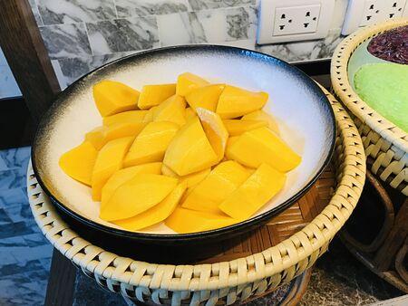 Dish of yummy sliced ripe mango in Thailand.