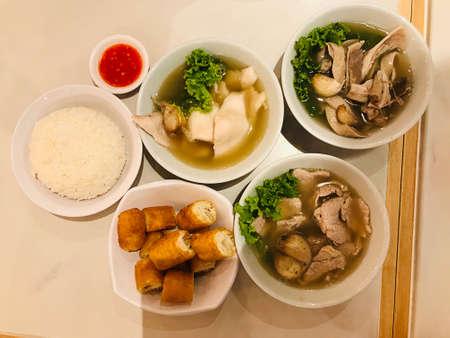 Variety of yummy Bak kut teh or Bah kut teh.