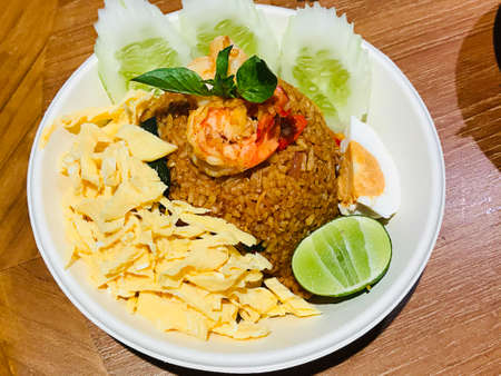 Spicy shrimp paste fried rice in Thailand.
