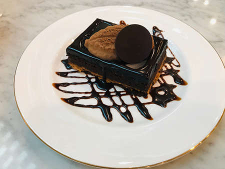 Dish of yummy Dark chocolate cake.