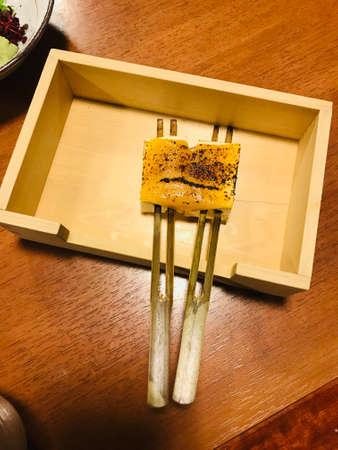 Dengaku or Japanese style roasted skewered tofu with cheese.