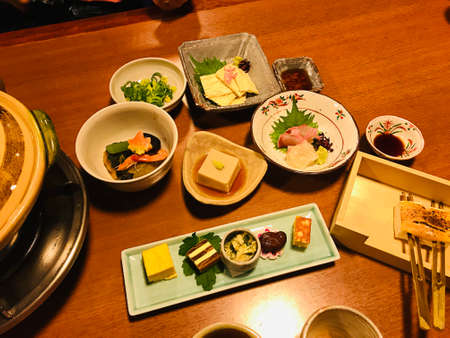Kaiseki or Traditional multi-course Japanese dinner in Kyoto, Japan.