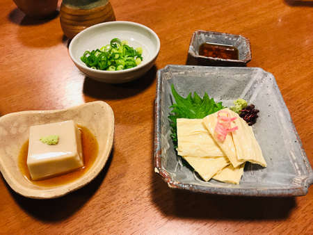 Fresh tofu skin and steamed tofu with soy sauce.