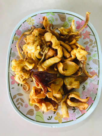 Fried squid marinated in Thailand.