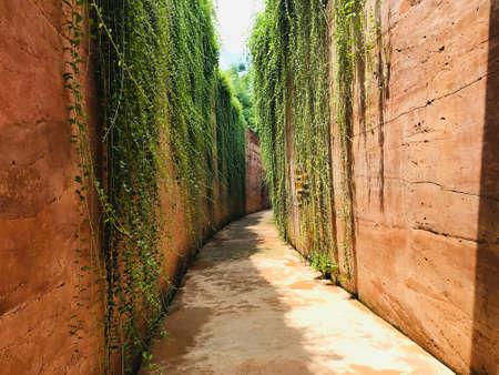 Bangkok, Thailand - July 26, 2020: Walkway between the stone walls of PTT Green in the City in Bangkok, Thailand.