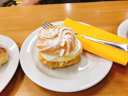 Choux cream or Cream puff in Postojna, Slovenia.