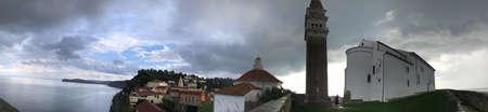 Panorama view surrounding St. George's Parish Church in Piran, Slovenia.
