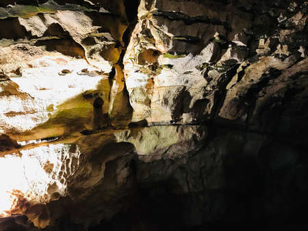 Rock formations in Postojna Cave, Slovenia.