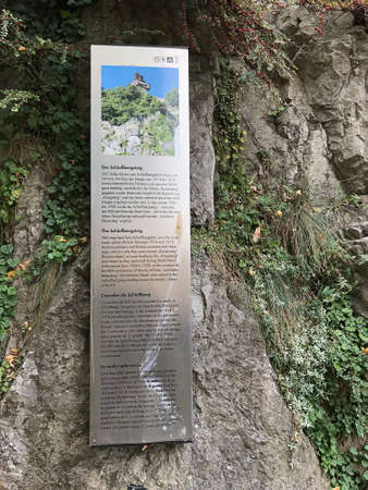 Graz, Austria - November 9, 2018: Tourist attractions billboard of the Schlossbergsteig, 260 steps lead from Schlossbergplatz up to the clock-tower called Uhrturm of the Schlossberg in Graz, Austria. Editorial