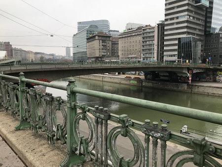 Vienna, Austria - November 11, 2018:  Landscape and scenery around the bridge over the river in Vienna, Austria.