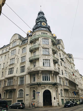 Vienna, Austria - November 11, 2018:  The exterior wall decoration of the building in the city centre of Vienna, Austria.