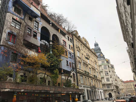 Vienna, Austria - November 11, 2018:  The KunstHausWien is a museum in Vienna, designed by the artist Friedensreich Hundertwasser. The museum was opened in April 1991. 新闻类图片
