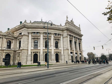 Vienna, Austria - November 11, 2018:  The Burgtheater is the national theater of Austria in Vienna. It was opened on 14 March 1741, the creation of the Habsburg Empress Maria Theresa of Austria.