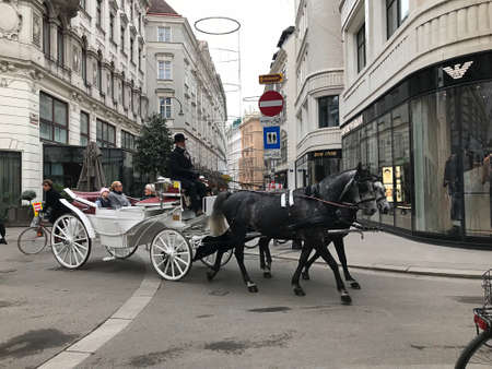Vienna, Austria - November 11, 2018: A tour in a horse-drawn carriage is a very atmospheric way to explore the beauty of Vienna. You can find horse-drawn carriage stands in different areas of the city