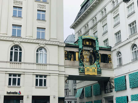 Vienna, Austria - November 11, 2018:  The Anchor Clock (Ankeruhr) was built between 1911 and 1917. It was created by the painter and sculptor Franz von Matsch and is a typical Art Nouveau design.