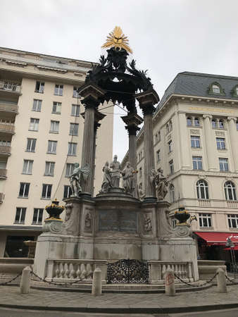 Vienna, Austria - November 11, 2018:  The Wedding Fountain at Hoher Markt in Veinna, was built in 1707 by Emperor Joseph I. The statues decorating the fountain are the work of Antonio Corradini. 新闻类图片