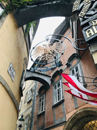 Vienna, Austria - November 11, 2018:  The double-headed eagle is the quintessential emblem of Habsburg dominion that represent to dual monarchy of Austria-Hungary. 新闻类图片
