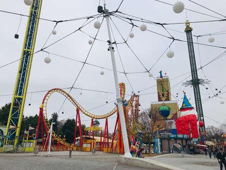 Vienna, Austria - November 11, 2018:  The Boomerang is high-speed roller coaster of the Prater amusement park in Vienna.