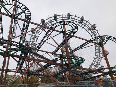 Vienna, Austria - November 11, 2018:  Roller coaster Dizzy Mouse at the Prater amusement park in Vienna.