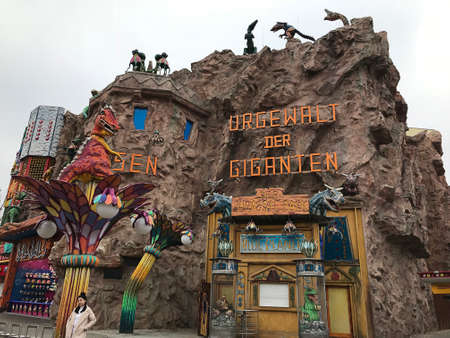 Vienna, Austria - November 11, 2018:  The Blue Planet of the Prater amusement park takes young and old adventurers to the world of dinosaurs, where primeval times are resurrected.