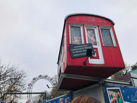 Vienna, Austria - November 11, 2018:  The mock-up of Vienna Giant Ferris Wheel's gondola of the Prater amusement park in Vienna.