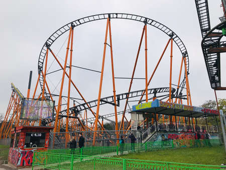Vienna, Austria - November 11, 2018:  The Super 8er Bahn at the Prater amusement park in Vienna, is a jumbo non-looping coaster model from Pinfari.