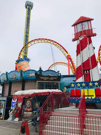 Vienna, Austria - November 11, 2018:  The Zamperla Volare Coaster is a flying coaster of the Prater amusement park in Vienna.