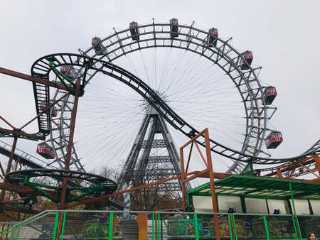 Vienna, Austria - November 11, 2018:  The Wiener Riesenrad or Vienna Giant Ferris Wheel is a 64.75 metre tall Ferris wheel of the Prater amusement park in Vienna. It was the world's tallest extant Fer