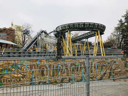 Vienna, Austria - November 11, 2018:  The Aqua Gaudi is a water rafting of the Prater amusement park in Vienna. 新闻类图片