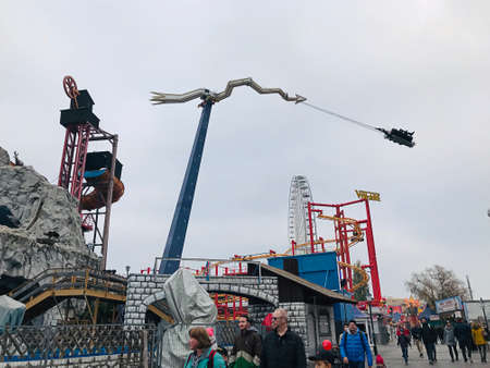 Vienna, Austria - November 11, 2018:  The Tornado at the Prater amusement park in Vienna, swing as high as 24 meters, dive down to the bottom headfirst and fly above spectators' heads. 新闻类图片