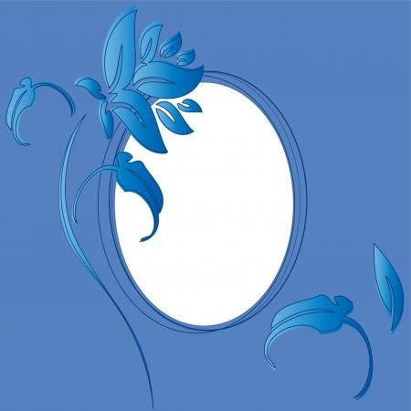 vintage blue floral frame