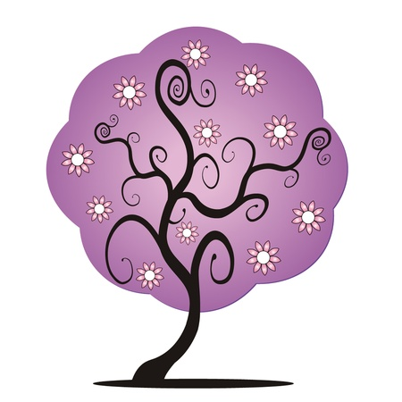 purple vector tree Illustration