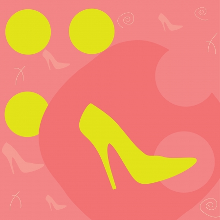 label for shoes in a pink background Vector