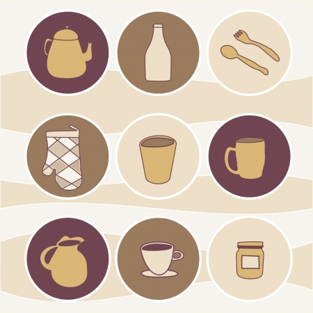 nice icons of kitchen accessories,icons kitchen items,  Vector