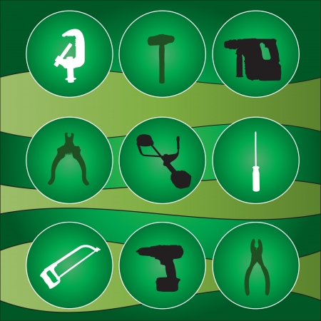 adjustable wrench: tool kit icons, set of tools icons,