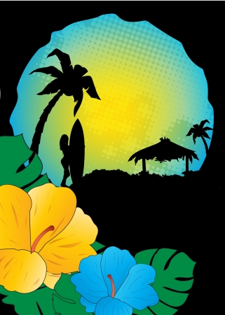 summer beach background,tropical Stock Vector - 14477937