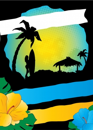 summer event flayer, tropical advertising design