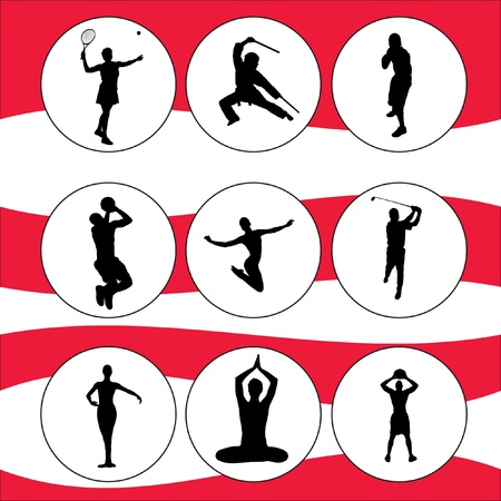 Set of Fitness Silhouette, collections profile, set sport, kit sport, sport  icons