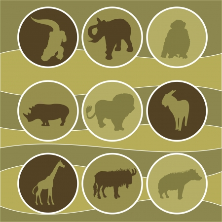 illustartion of african animals Vector