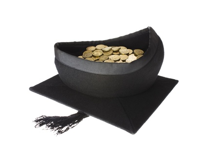college fund savings: Education Costs - Mortar Board Graduation Cap Full of Coins