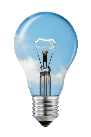 pensamiento estrategico: Blue Sky Bombilla de pensamiento con el camino de recortes
