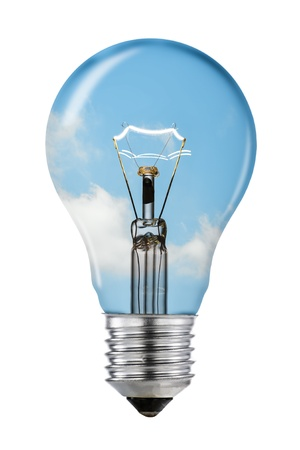 shining light: Blue Sky Thinking Lightbulb with Clipping Path